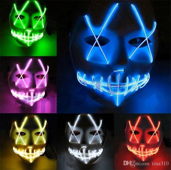 Nouveau LED Halloween Fantôme Masques La Purge Film Fil Rougeoyant Masque Masque Complet Masques Halloween masque Costumes Partie masque Cadeau I305