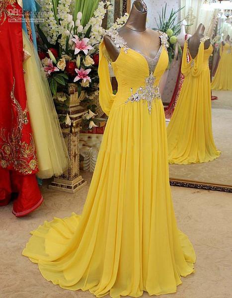 Seksi Moda Uzun Abiye Glamorous Kristal Fırfır Şifon Pageant Elbise Akşam Aşınma Balo Parti Elbiseler