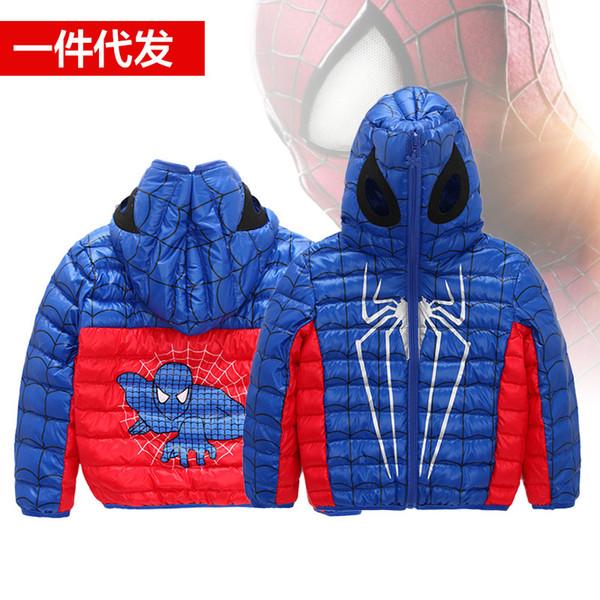 Jungen 2017 Mit Outwear Daunenjacke Man Mode Mantel Für Warme Kinder Maske Neue Großhandel 90Weiße Spider Anzüge Kapuze Ente Unten Kleidung tdQshr
