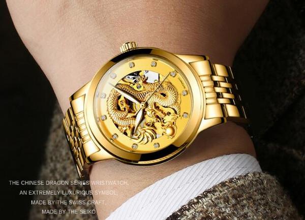 Orologio di marca di alta qualità di marca orologio multifunzione impermeabile d'oro Cina drago automatico meccanico uomo orologio da uomo
