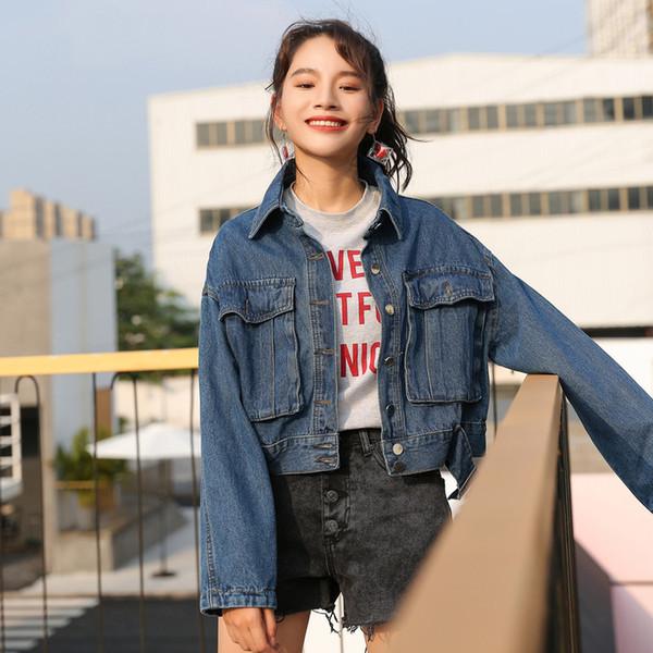 2018 New Arrival Short Big Pocket Female Denim Jacket Single Breasted Slim Casual Female Jackets Women Oversized Jean Coat Blue