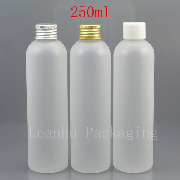 250ml x 25 empty frosting white cosmetic bottle with white plastic gold / silver aluminum screw cap 250cc shampoo container