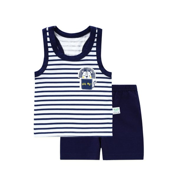 Baby Girl Boy Summer Clothes Set Sleeveless Baby Boy Vest Sets T shirt Newborn Clothes Outfits Summer Suit For Boy Navy Clothing
