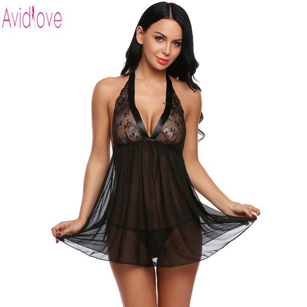 Avidlove 2018 New Babydoll Dress Donne Sexy Lingerie Hot Erotic Costume Del Sesso Del Merletto Della Maglia Camicia Da Notte Porno Abbigliamento Femminile Biancheria Intima D18110701