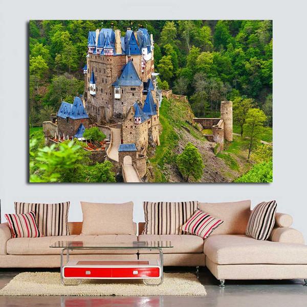Acheter Chateau Bleu Peinture A L Huile Peinture Murale Peintures Sur Toile Salon Moderne No Frame De 24 59 Du Framedpainting Dhgate Com