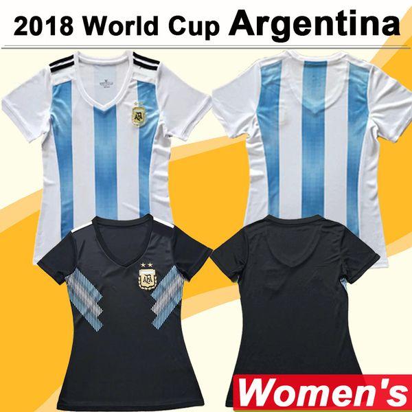 2018 Dünya Kupası MESSI Kadınlar Futbol Forma Arjantin Milli Takım DI MARIA Deplasman Futbol Formalar DYBALA Aguero Lady Kısa Gömlek Üniforma