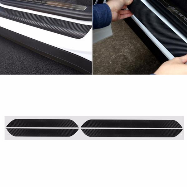 4 Pz Nero In Fibra di Carbonio Car Door Pedal Piatto Davanzale Scuff Cover Sticker Per Skoda Octavia A5 A7 Car Interior Modanature C45