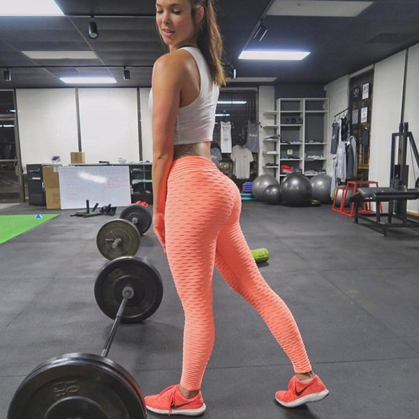 2018 New High Waist Elastic Fitness Leggings Women Sexy Push Up Sporting Legging Knitted Pleated Breathable Workout Pants Female S18101506