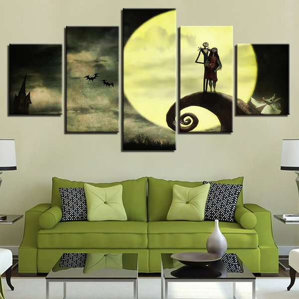 Posters Frame HD Printed Wall Art Pictures 5 Panel Halloween Nightmare Before Christmas Modern Home Living Room Decor Painting