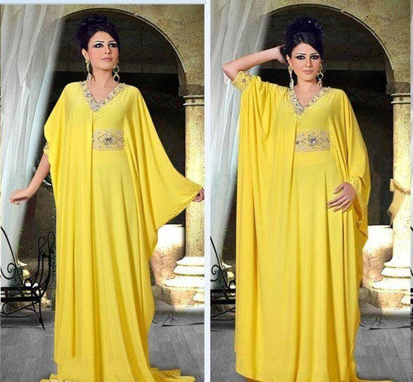 2018 Dubai Arabic Yellow Evening Dresses V Neck Chiffon Crystals Beaded Nigerian Middle East Abaya Formal Party Gowns Plus Size