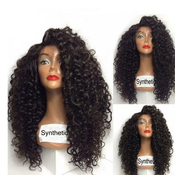 Cheap afro kinky curly synthetic lace front wig Long kinky curly heat resistant synthetic hair for black women
