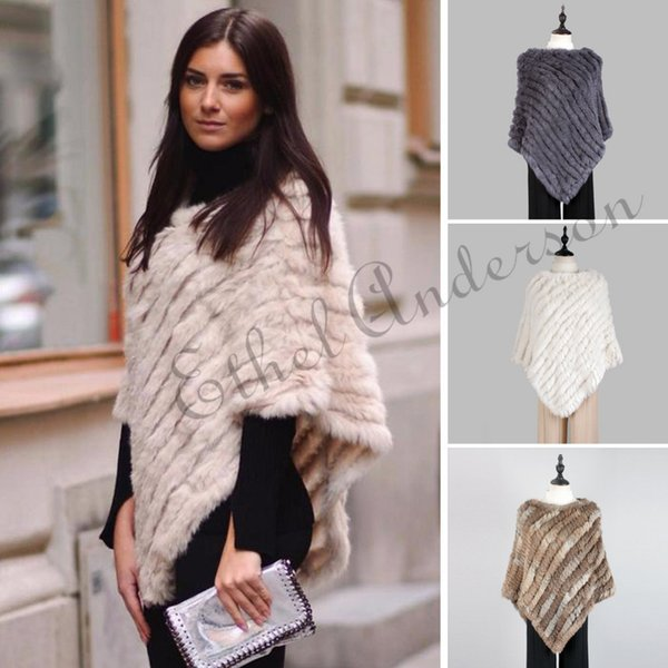 Fashion Fur Pullover For Women Knitted Genuine Rabbit Fur Poncho Capes Ladies Real Fur Knit Amic Wraps Triangle Shawls Jackets C18110301