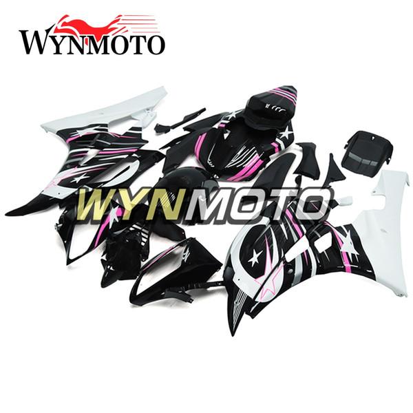 Carrocería Negro Rosa Blanco Inyección Motocicleta 2007 R6 Carenados Completos Para Yamaha YZF600 R6 YZF-600 2006 2007 Cascos ABS Plásticos Kits de cuerpo