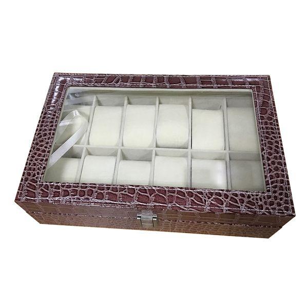 Faux Leder Uhrengehäuse Aufbewahrungsbox Organizer Schmuck Glas Top Größe: 12 Grid Crocodile Brown