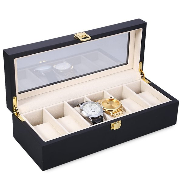 Reloj Relogios Watch Box 6 Slots Wood Watch Display Case Watches Box Glass Top Jewelry Storage Organizer Holder Clock Case Boxes