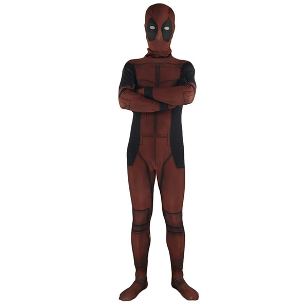 Halloween Men Adult Deadpool Costumes Super Hero Movie Deadpool Cosplay Jumpsuit For Kid Child Fancy Dress without Accessories