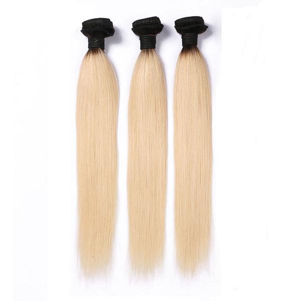Бразильские Ombre пучки человеческих волос 3PCS 1B / 613 ombre блондинка Remy человеческие волосы прямые 8-28 дюймов