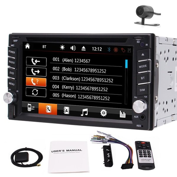 "Camera+6.2"" In Dash Double 2DIN Car GPS Stereo car DVD Player Bluetooth Radio FM/AM/RDS1080p Video Dual Knobs Remote Control+8GB GPS"