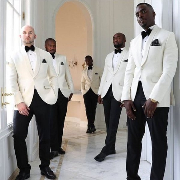 2018 Groom Tuxedos Wedding Suits Groomsmen Best Man For Man Prom Suits Black Pants White Coat (Jacket+Pants+Bow Tie) Custom made Plus size
