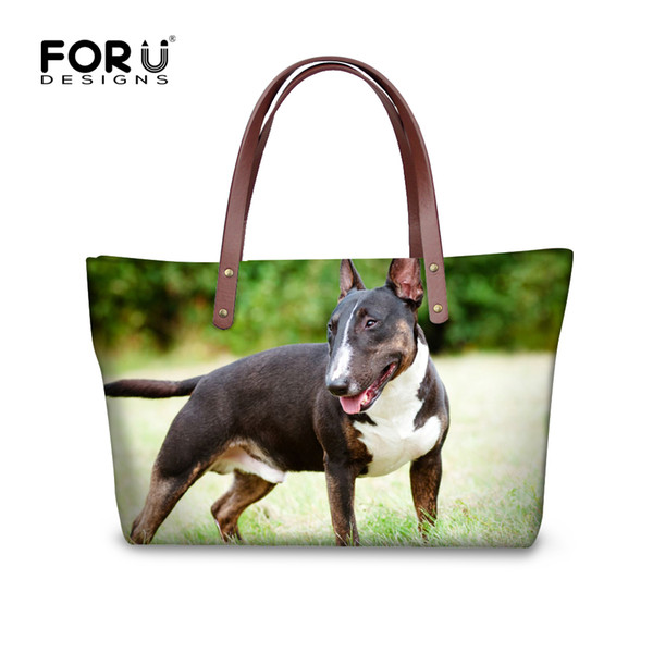 Wholesale 3D Animal Zoo Print Ladies Handbags UK Bull Terrier Pattern Vintage Boston Bags Large Capacity Women Totes FORUDESIGNS