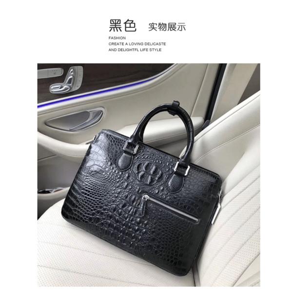 Handtasche der echten Krokodilhautmänner, Schädel, reales ledernes Dokument, männliche männliche Tasche der großen Kapazität
