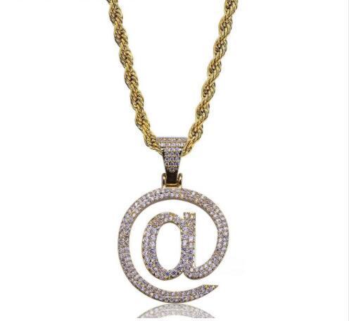 Collana ciondolo hip hop color argento dorato ghiacciato micro pavimenta pietra cz pietra @ lettera collane con ciondolo catena gioielli corda 60cm
