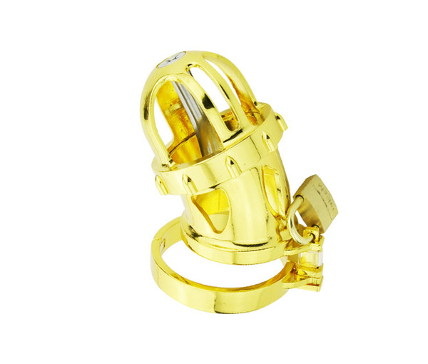 24k Gold Plating Male Cock Penis Cage With Detachable Catheter Chastity Device Penis Cage BDSM Sex Toys A198