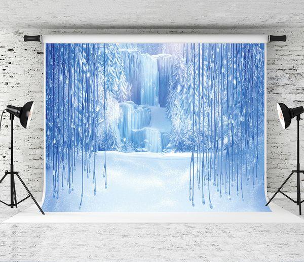 Traum 7x5ft Weihnachten Winter Gefrorene Schnee Eiskristall Anhänger Welt Kulissen Fotografie Hintergrund für Kinder Foto Studio Requisiten Kulisse