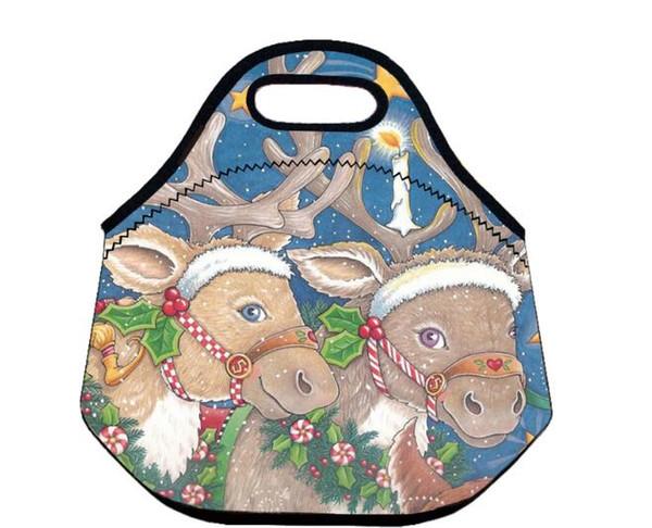Merry Chrismas Blue lunch bag Spedizione gratuita 100 pezzi / lotto