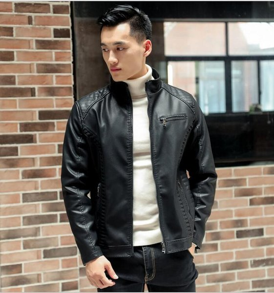 Men's coat short slim leather jacket PU leather men's plus size plus velvet jacket