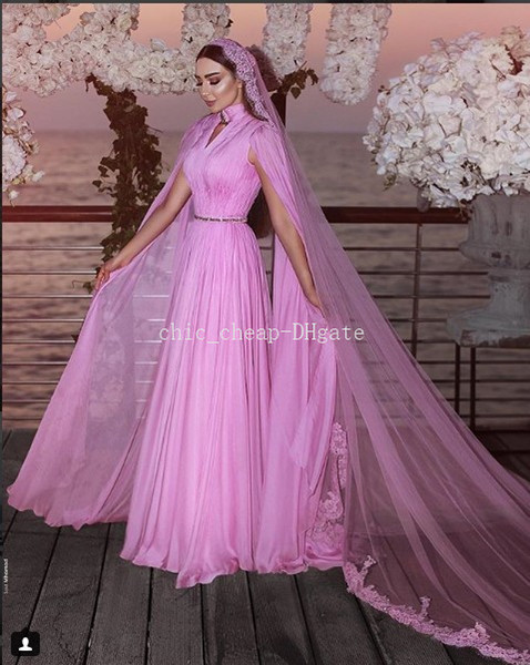Stylish Beaded Chiffon 2018 Evening Dresses Cheap Elegant High Neck A-line Prom Dresses Charming Bridesmaid Formal Party Gowns