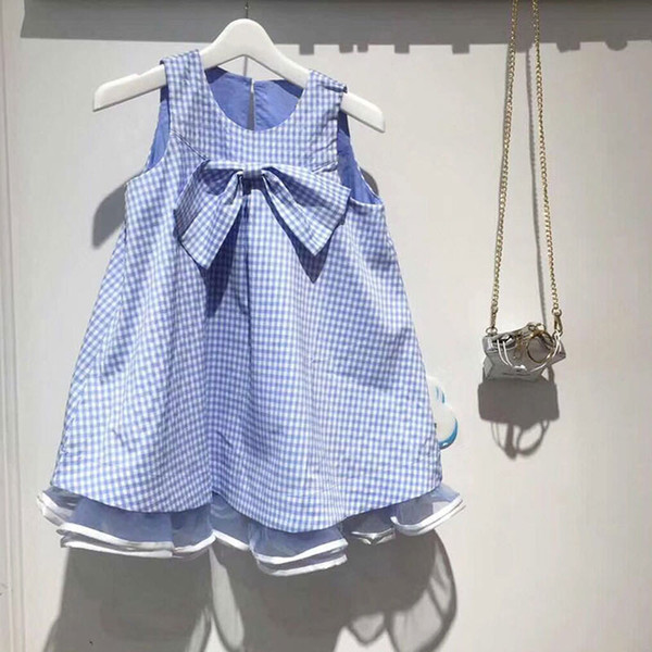 Top qualité mode été enfants sans manches bleu rayé à carreaux arc robe pure coton mode enfant uniformes robes filles enfants