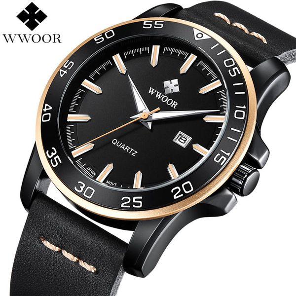 2018 Watch Mens Quartz Waterproof Sports Watches Men Top Brand Luxury Leather Strap Military Wrist Watch Male Famous WWOOR Clock