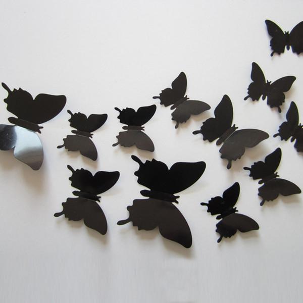 12st Hot Art Design Wand Aufkleber Decals Home Decor Rot Lila Rosa Zimmer Dekorationen Wunderbare 3D Schmetterling Hochzeit Fotografie