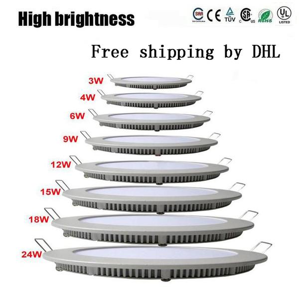 La luz del panel llevada redonda regulable SMD 2835 3W 9W 12W 15W 18W 21W 25W 110-240V llevó la lámpara empotrada del techo SMD2835 downlight + driver