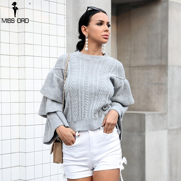 Missord 2018 AutumnWinter O Boyun Fırfır Tişörtü Katı Renk Kazak TB0036