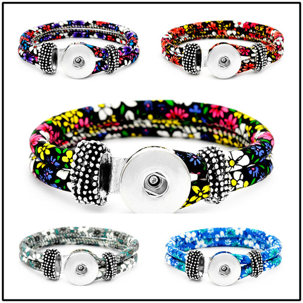 Fashion 18mm Leather Snap Strands Button Bracelet Floral Button Bangle Wrist Watches Noosa DIY Jewelry for Women