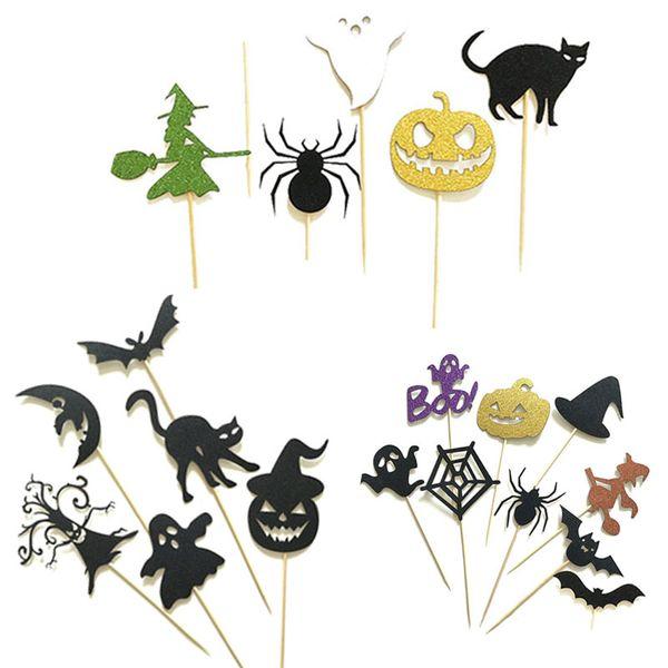 6/8 pz Happy Halloween Cake ToppersCake Toppers Per Halloween Cake Decoration Zucca Fantasma Gatto Pipistrelli Spider Strega Cupcake Bandiere