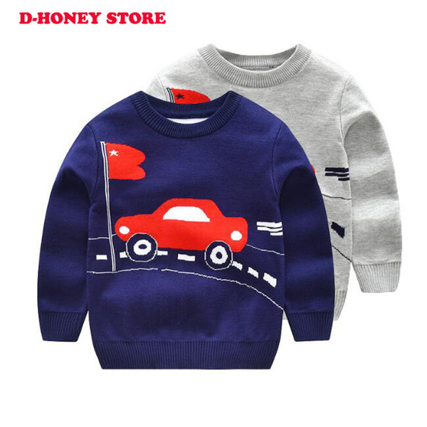 Boys Christmas Sweaters cartoon car printed Kids Knitwear Tops Fall 2018 Children Casual School Jumpers Plaid Knit Pullovers