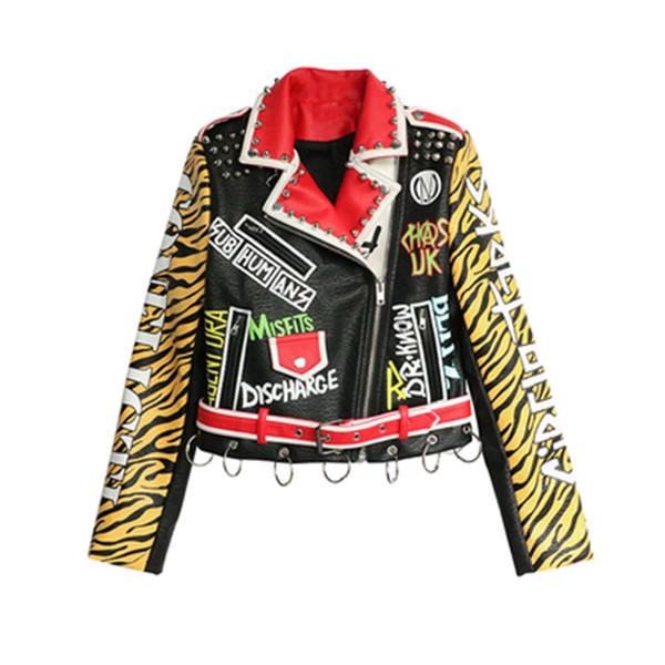 women leather jacket Fashion Motorcycle Leather Outwear Women Slim Fashion Graffiti letters spell color Slim short Coat