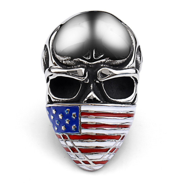 Punk Skull Rings Men Large Titanium Steel Mysterious Masked USA National Flags Skeleton Finger Toys for Male Biker Fancy Halloween Jewelry