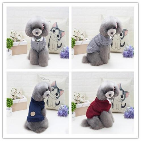Winter warm pet dog costume teddy bichon clothes knitted fleece sweater dog clothes cotton apparel 3 color pet decoration dog supplies