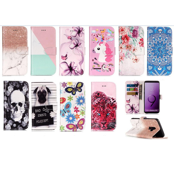 Leather Wallet Case For Galaxy S9 Plus Note 8 S8 A8 2018 Skull Flower Marble Leopard Dog Flip Cover Butterfly Cartoon Card Unicorn PU Coque