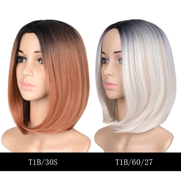 Ombre Color Short Straight Hair Wig 13 Inch3