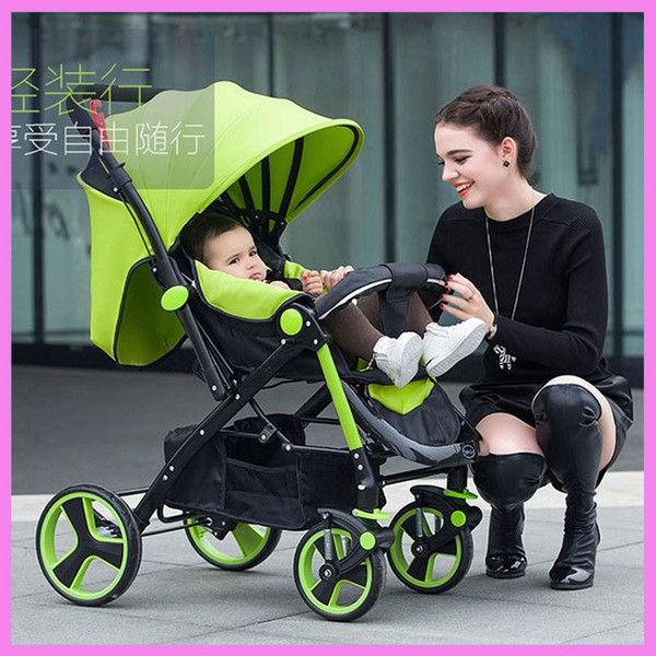 High Landscape Steel Light Baby Stroller Four Wheels Lightweight Travel Portable Umbrella Car Baby Carriage Pram Buggy Pushchair