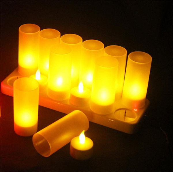 Rechargeable LED Tea Lights Flameless Flickering Candle Light Creative Decorate Xmas Party Candlelight Dinner Candle Lamps