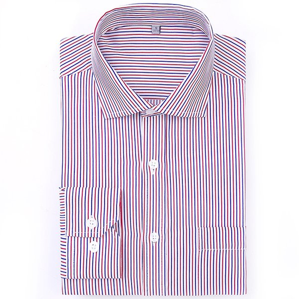 GREVOL New Arrival Men's Long Sleeve Business Striped Shirt Solid Smart Casual Turn-down Collar Shirts Male Social Shirt QS