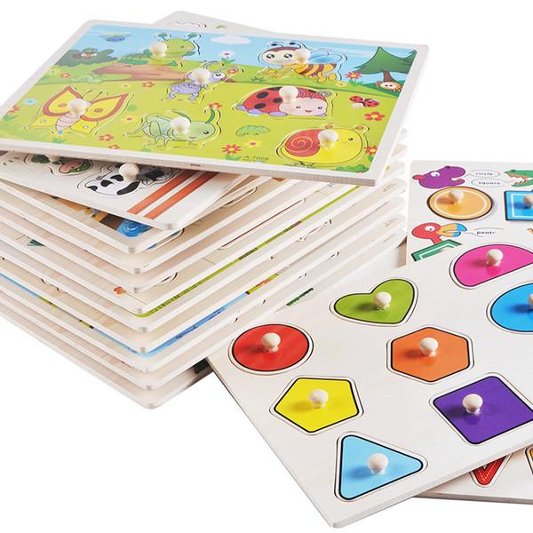 Puzzle en bois Bébé Main Grab Board Ensemble Éducatif Dessin Animé En Bois Jouet Véhicule Marine Animaux Puzzle Enfant Présent Intelligence jouets GGA1361