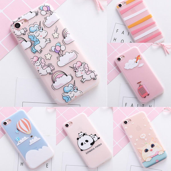 Cute Colorful Flower unicorn cover case for iphone 8 5 5S SE 6 S 6S plus soft silicon cat panda cases for iphone 7 7plus