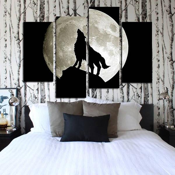 Creativo 4 Pz / lotto Senza Cornice Spray Pittura A Olio Stampata Wolf-Howl A Piena Luna Momento Decor Wall Art Su Tela